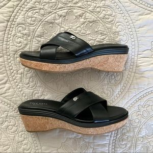 NWOT Cole Haan Black Wedge Leather Sandals